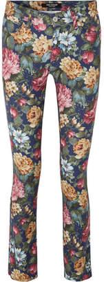 Junya Watanabe Floral-print Mid-rise Skinny Jeans - Navy