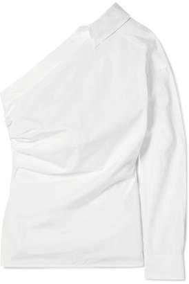Max Mara Jack One-shoulder Cotton-poplin Shirt - White