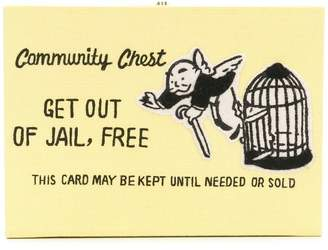 Olympia Le-Tan box shaped 'Get out of Jail, free' clutch bag