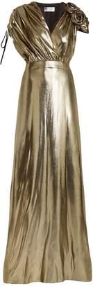 Lanvin Flower-embellished V-neck silk-blend gown
