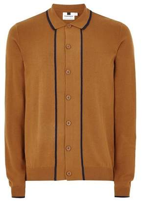 Topman Mens Brown Toffee Knitted Polo