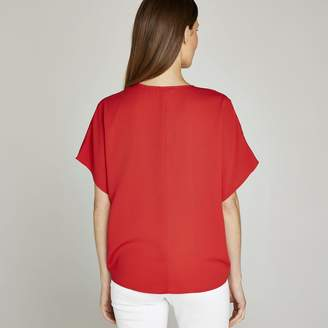 Apricot Red Twist Front V Neck Top