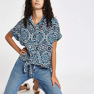 River Island Womens Blue mosaic printed tie front shirt