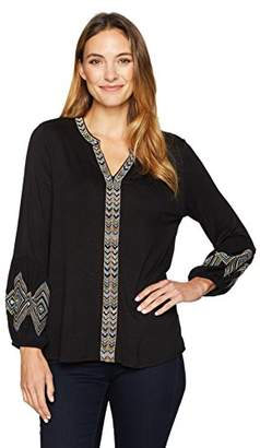 Democracy Women's Emb Plkt and Blouson Sleeve Knit to Woven Top