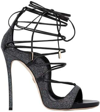 DSQUARED2 120mm Riri Glitter & Leather Sandals
