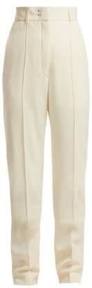 Lemaire High Waist Tailored Wool Trousers - Womens - Cream