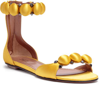 Alaia Yellow satin bomb flat sandals