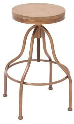 DecMode Decmode Industrial 34 Inch Iron and Fir Wood Adjustable Bar Stool, Oak brown