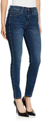 Nicole Miller High-Rise Side-Rivet Skinny Jeans