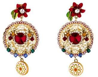 Dolce & Gabbana Crystal & Enamel Drop Earrings