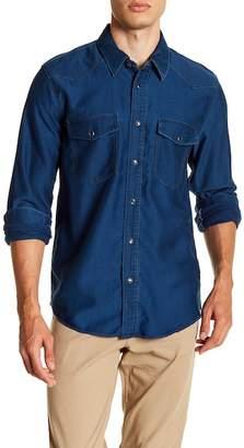Vince Western Denim Long Sleeve Trim Fit Shirt