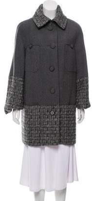 Chanel Tweed-Accented Wool-Cashmere Coat