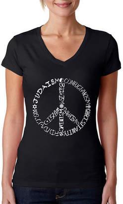 LOS ANGELES POP ART Los Angeles Pop Art Women's V-Neck T-Shirt - Different Faiths peace sign