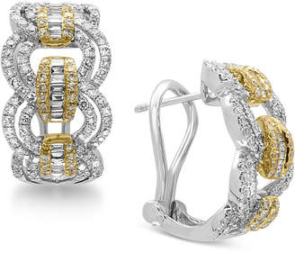 Effy Duo by Diamond Hoop Earrings (1-1/5 ct. t.w.) in 14k Gold and White Gold