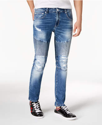 INC International Concepts I.N.C. Men's Destructed Moto Skinny Jeans, Created for Macy's
