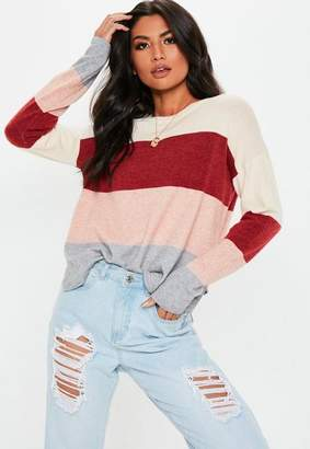 Missguided Red Colorblock Striped Sweater