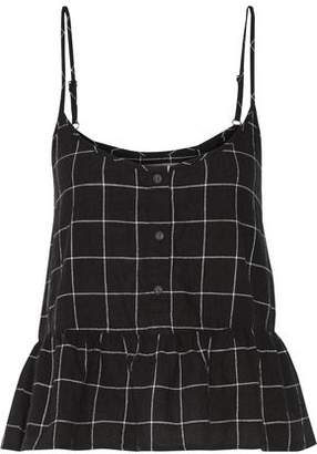 Current/Elliott The Workwear Plaid Cotton-Blend Peplum Top