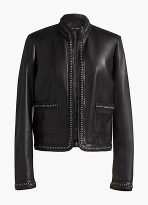 St. John Chain Trim Leather Jacket