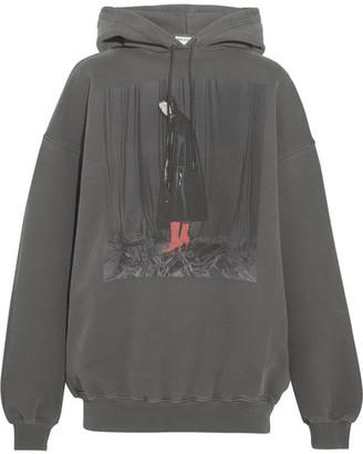 Balenciaga - Printed Cotton-jersey Hooded Sweatshirt - Dark gray