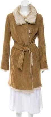 Gerard Darel Fur-Trimmed Belted Coat