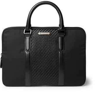 Ermenegildo Zegna Pelle Tessuta Leather And Nylon Briefcase