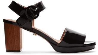ALEXACHUNG Patent Leather Block Heel Sandals - Womens - Black