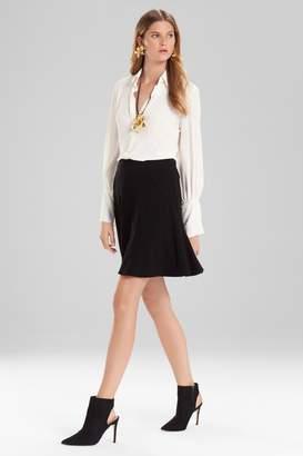 Josie Natori Knit Crepe Ruffle Skirt
