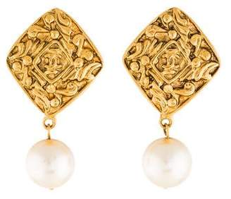 Chanel Faux Pearl Baroque Earrings