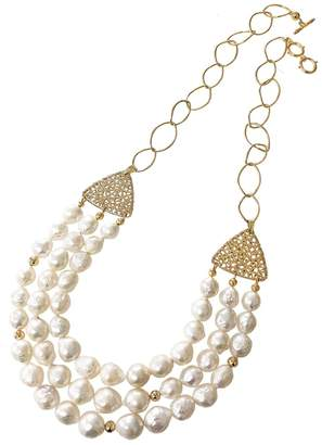 Farra - Natural Pearls with Triangle Filigrees Multi-layers Necklace