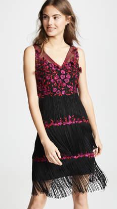 3c87d45289 Marchesa V Neck Embroidered Fringe Cocktail Dress