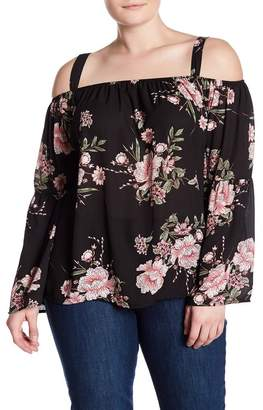 Derek Heart Cold Shoulder Bell Sleeve Blouse (Plus Size)