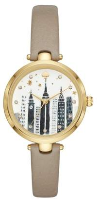 Kate Spade Holland Skyline Leather Strap Watch, 34mm
