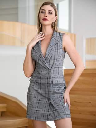 Shein Double Crazy Plaid Double Button Blazer Dress