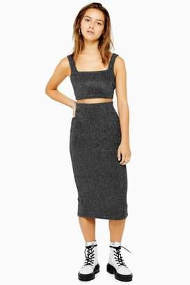 Topshop Womens Petite Metallic Ribbed Midi Skirt - Gunmetal