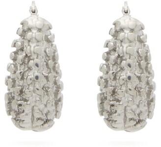 Jil Sander Chunky Textured Hoop Earrings - Womens - Silver