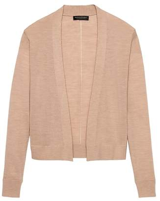 Banana Republic Machine-Washable Merino Wool Cropped Open Cardigan Sweater
