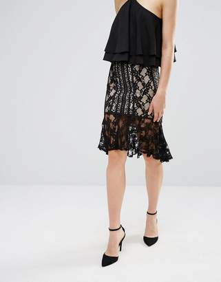 Endless Rose Frill Hem Lace Midi Skirt