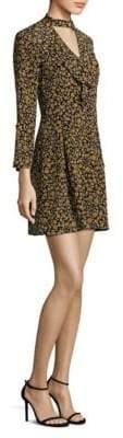 Derek Lam Floral Cascade Bell-Sleeve Silk Choker Dress