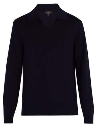 Dunhill Spread Collar Wool Sweater - Mens - Navy