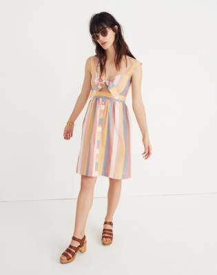 Madewell Tie-Front Cutout Dress in Sherbet Stripe