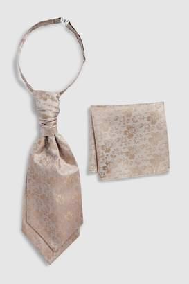 Next Mens Champagne Floral Silk Cravat And Pocket Square Set - Gold