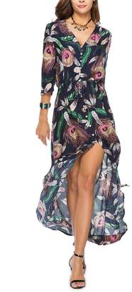 Miatty Women's 3/4 Sleeve Front Slit Floral Print Bohemian Maxi Beach Dress Cover up L