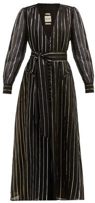 BLAZÉ MILANO Medusa Metallic Stripe Jacquard Cotton Blend Gown - Womens - Black