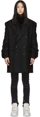Junya Watanabe Black Double-Breasted Gathered Coat