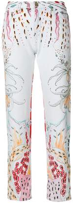 Roberto Cavalli cropped printed jeans