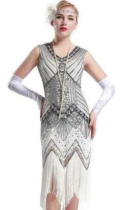 4f1668c89a4b1 BABEYOND Women s Flapper Dresses 1920s V Neck Beaded Fringed Great Gatsby  Dress ...