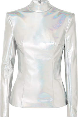 Balmain Iridescent Faux Leather Turtleneck Top - Silver