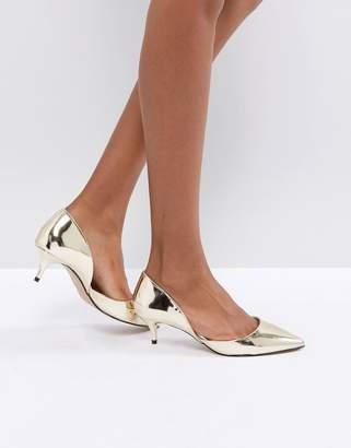 Aldo Adylia Kitten Heel Pointed Shoe in Gold