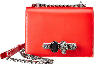 Alexander McQueen Skull Jeweled Small Leather Crossbody