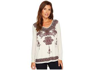 Tribal Long Sleeve Knit Top w/ Printed Faux Suede Front Women's Long Sleeve Pullover